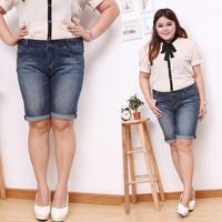 Plus size mm spring and summer denim capris knee-length pants jeans elastic 40