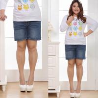Plus size mm spring and summer Women belt elastic denim shorts knee-length pants capris 38