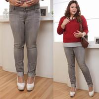 Clothing plus size mm women's denim straight trousers skinny pants 46