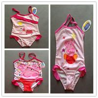 Free shipping children kids peppa pig swim wear bathers swimsuits one piece swiming wear set