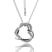 18K White Gold Plated Necklaces ! Luxury Fashion Women Link Chain With White Crystal Wedding Knot Hearts Pendant Necklace N006