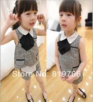 Wholesale 5sets/lot fashion girl summer set child plaid clothing set vest+shorts two-pcs suit 2-7y kids summer princess set