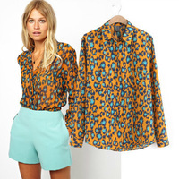 2014 New Fashion Ladies' Leopard Print Brand Designer Blouses Sexy Long Sleeve Casual Slim Office Lady Tops Free Shipping