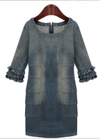 Free shipping 2014 ZA** spring and summer women's new European and American big retro do the old sleeve denim dress