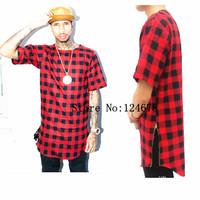 Tyga side zipper tartan flannel Tee T shirt men Hip hop oversized extended zipper Red plaid tartan T shirt tee been trill Hba