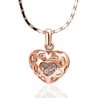 18K Rose Gold Plated Necklaces ! Luxury Women Men Link Chain With White Crystal Lover's Solid Heart  Pendant Necklace N002