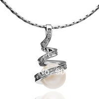 18K White Gold Plated Necklaces ! Luxury Fashion Party Women Link Chain With White Crystal Parel Pendant Necklace N014