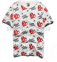 Free Ship 2014 Fashion Short Sleeve Heat T Shirt Pure Cotton Tee Summer Men Hip Hop T-Shirt