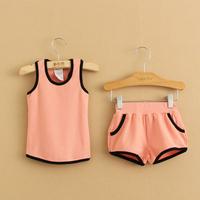 2014 summer boys clothing girls clothing baby child vest shorts set tz-1316