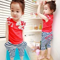 2014 summer girls clothing baby child t-shirt capris trousers set tz-0180