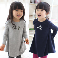 Free shipping 2014 spring and autumn cherry girls clothing child long-sleeve expansion bottom baby kids short dress