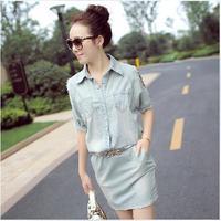 2014 new arrival women jeans dress turn-down collar rivet light blue short sleeve fashion patchwork denim dress with belt