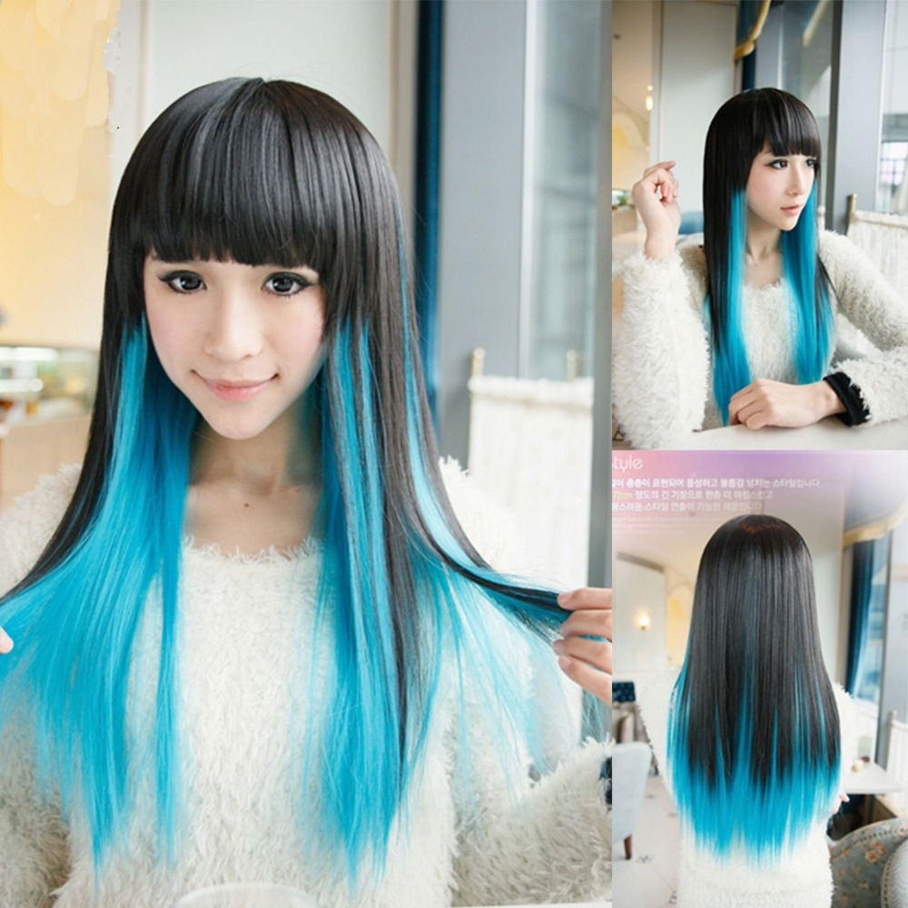 New Style Highlights Womens Ladies Long Straight Full Wigs Hair Party ...