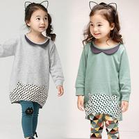 2014 spring girls clothing baby child long design sweatshirt legging set tz-1171
