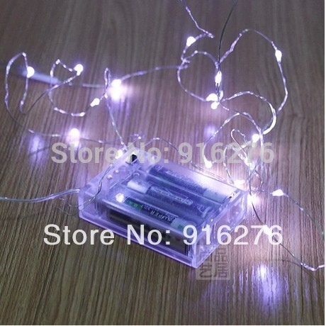 5 x 2m 10m Silver Wire White blue red green yellow pink AA battery Holiday Christmas party LED String Fairy Lights waterproof(China (Mainland))