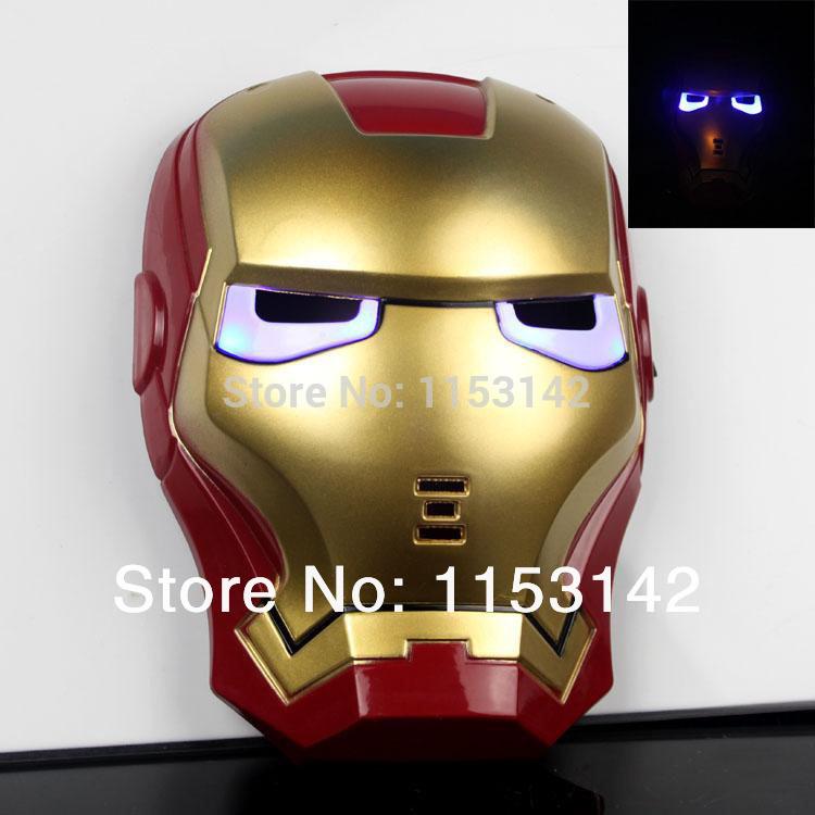 Partido Máscara atuando com máscara LED Toy Boa qualidade total Rosto Homem de Ferro(China (Mainland))
