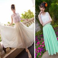 2014 slim solid color fairy elegant of expansion skirt chiffon bust skirt bohemia full dress