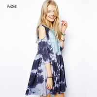 2014 summer personalized tie-dyeing print loose cute strapless pleated one-piece dress one-piece dress