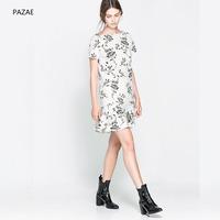 Pazae2014 spring and summer fresh and elegant print ruffle short-sleeve dress slim