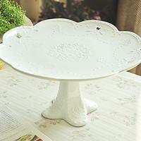 Embossed fashion mink cutout lusterware tableware tall fruit plate cake mug-up plate