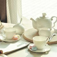 Embossed fashion mink cutout lusterware coffee set bone china pot cup 7 piece set