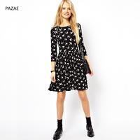 2014 spring cute print half sleeve o-neck slim pleated one-piece dress