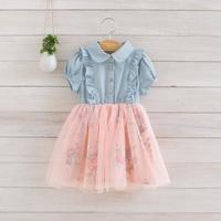 2014 New summer,girls denim dress,children princess floral dress,3 colors,2-8 yrs,5 pcs / lot,wholesale,1001