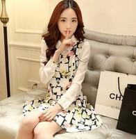 2014 spring fashion women's slim long-sleeve chiffon patchwork peter pan collar one-piece dress