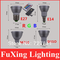4W E27 E14 MR16 GU10 GU5.3 RGB LED 16 Changeable Colors Light Lamp Bulb with Remote Control free shpping,Innovative items