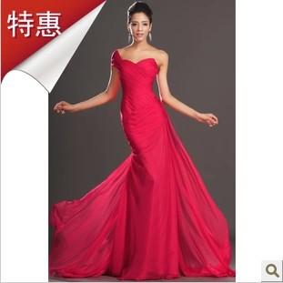 2014 gorgeous 2014 elegant design red chiffon long formal dress slim simple elegant fashion evening dress(China (Mainland))