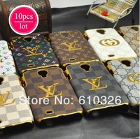 10 pcs+free screen protect+free shipping For samsung galaxy s4 case chorme brand leather i9500 case luxury cover, High quality