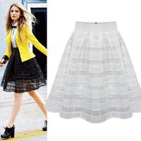 new fashion summer chiffon white black plaid pleated high waist casual midi skirt women skirts female 2014