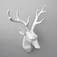 Resin sculpture home decoration fashion white deer wall deer  craft
