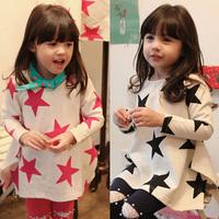 Free shipping new 2014 spring girls clothing baby child long design long-sleeve T-shirt basic shirt children blouse