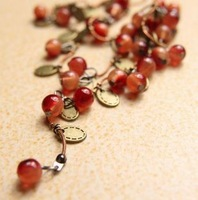For nec  klace female agate sweet cherry xiangsi rattan necklace long design necklace accessories