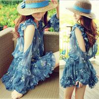 2014 spring sweet strapless chiffon slim long-sleeve dress