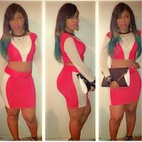 2014 women's elegant Bodycon Dress Lady Evening night club outfit summer wear Bandage dress two piece top