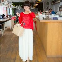 2014 summer women's loose long-sleeve T-shirt twinset chiffon patchwork vest one-piece dress
