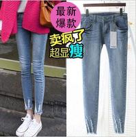 Hole slim pencil pants elastic ankle length trousers female skinny jeans female thin female