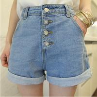 2014 spring fashion shorts plus size loose buttons denim high waist shorts women's
