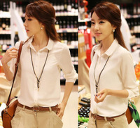 2014 spring white long-sleeve shirt female plus size professional shirt slim chiffon shirt