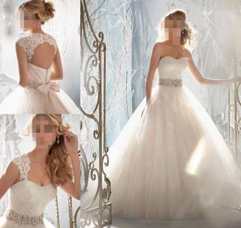 Cheap Price ! 2014  Beading Crystal A line Sweetheart With Train Кружево Белый / ...