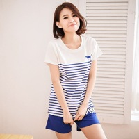 Pink stripe women's lounge set cvc knitted 100% cotton short-sleeve casual sports set