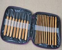 20pcs Carbonize Bamboo Crochet Hooks Knitting Needles Craft With Purple Case