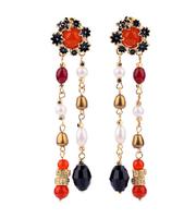 Min Order $15 (Can Mix Item ) Bohemian Luxury created gem  flower tassel drop earring