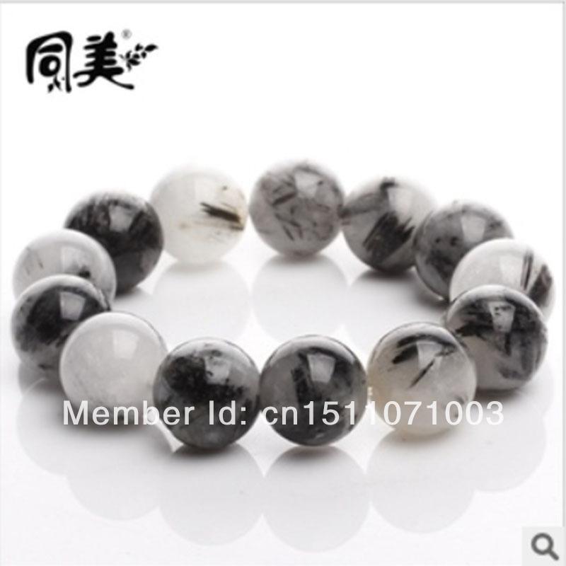 Mens Black Crystal Bracelet Natural Black Crystal Bracelet