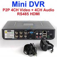 P2P DVR 1080P 4CH mini CCTV DVR RS485 HDMI 4CH Video in +4Ch Audio In
