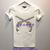 Free Shipping Women's 100% cotton woman personality diamond slim casual short-sleeve T-shirt