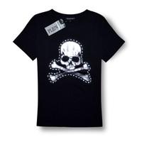 Free Shipping Pp women's skull applique diamond personalized short-sleeve fashion t-shirt woman s t-shirt