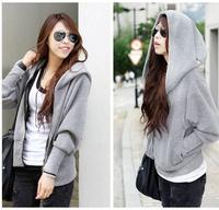 Free shipping  new 2014 women hoody loose  casual batwing sleeve cardigans sweatshirts